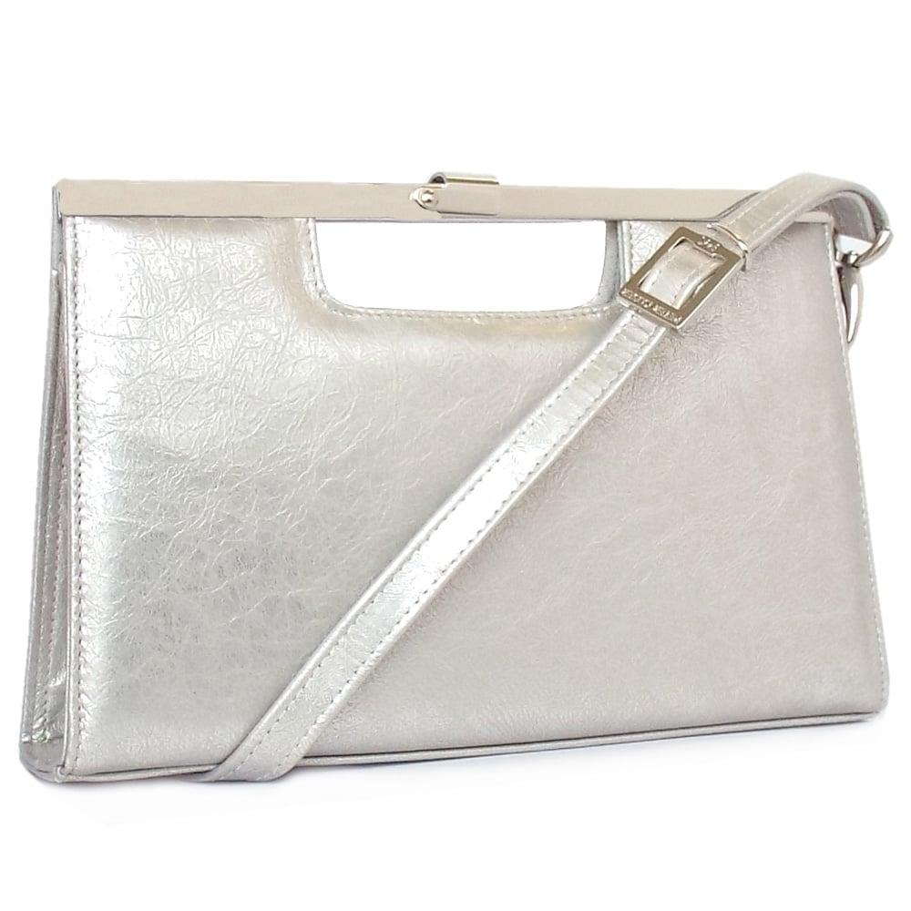 Silver leather tote bag uk - Wye Silver Furla Metallic Leather Dressy Clutch