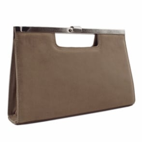 Wye Taupe Suede Evening Clutch Bag