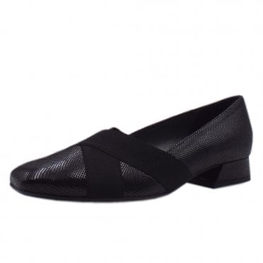 Zenja Black Sarto Low Heel Plus Fit Pumps