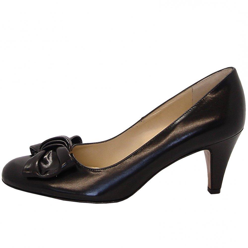 kaiser phillis black chevro leather court shoes