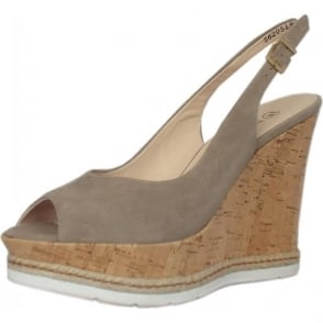 Regine Wedge Sandals in Taupe Suede