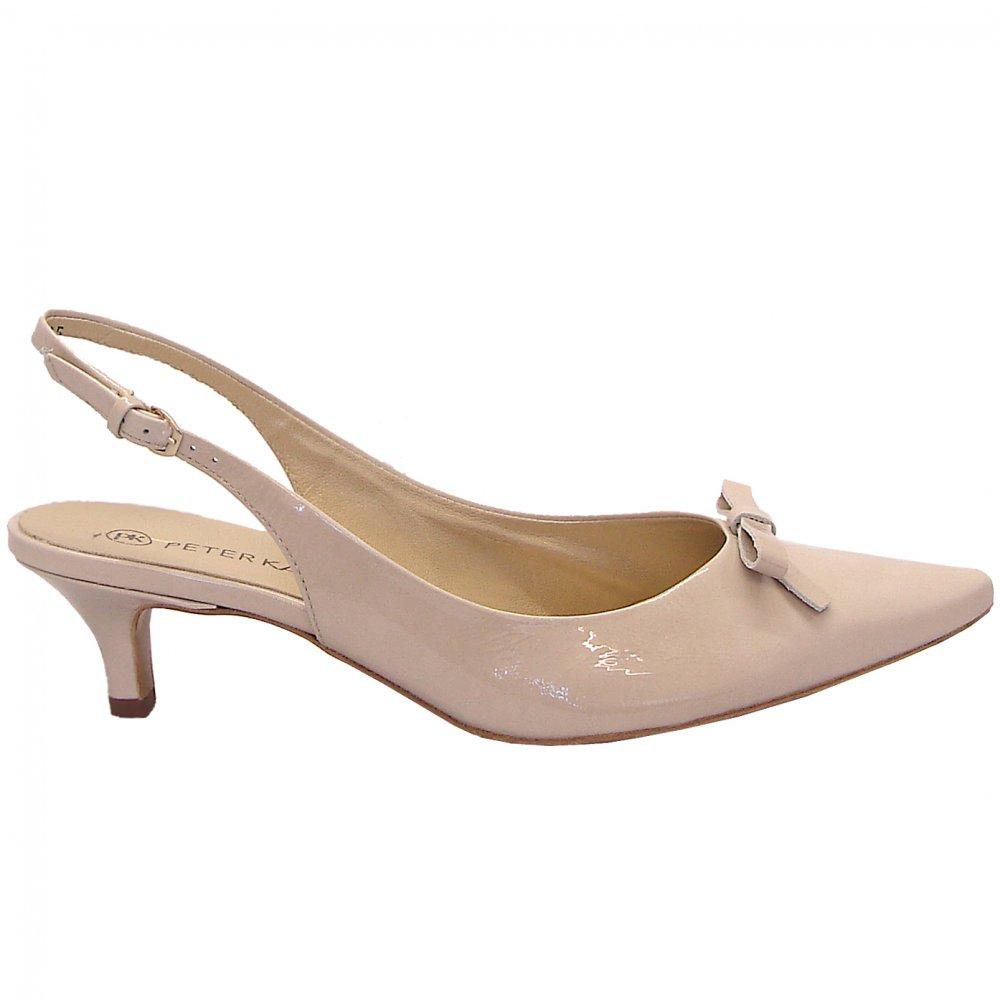 Rosette nude lana patent kitten heel slingback shoes