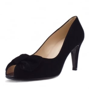 Samos Ladies Peep Toe Shoes in Black Suede