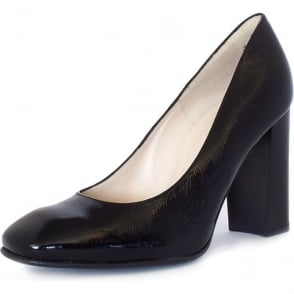 Sandy Black Crackle Patent Leather Block Heel Pumps