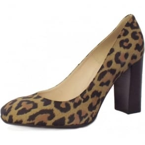 Sandy Block Heel Shoe in Leopard Print