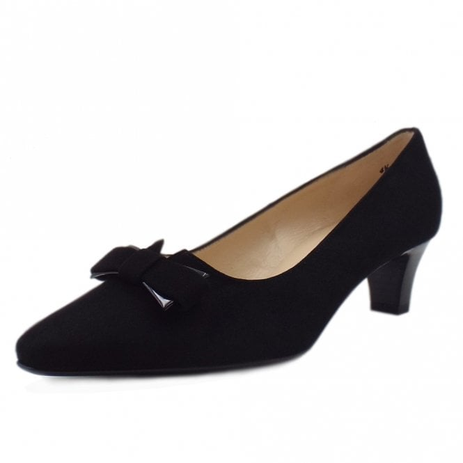 Saris Wide Fit Court Shoes With Bow In Black Suede
