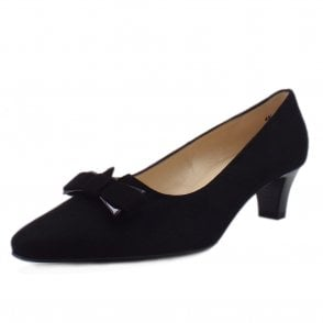 Saris Black Suede Court Shoes With Bow