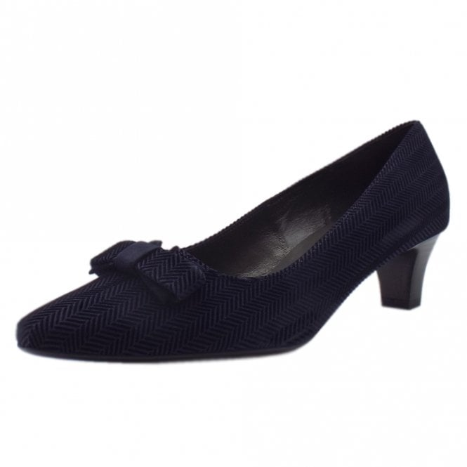 Saris Navy Trama Court Shoes With Bow