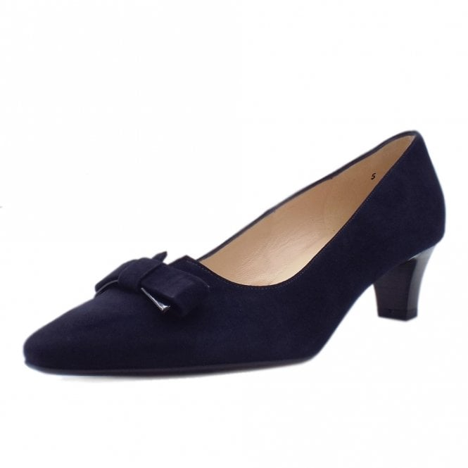 Saris Wide Fit Court Shoes With Bow In Notte Suede