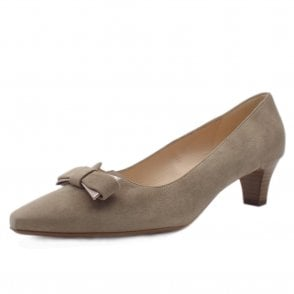 Saris Taupe Suede Court Shoes With Bow