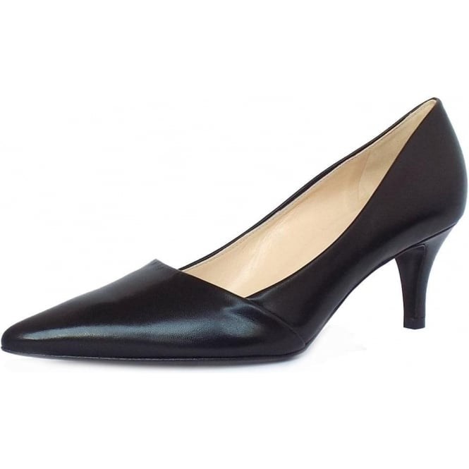 Semitara Black Chevro Leather Pointed Toe Pumps