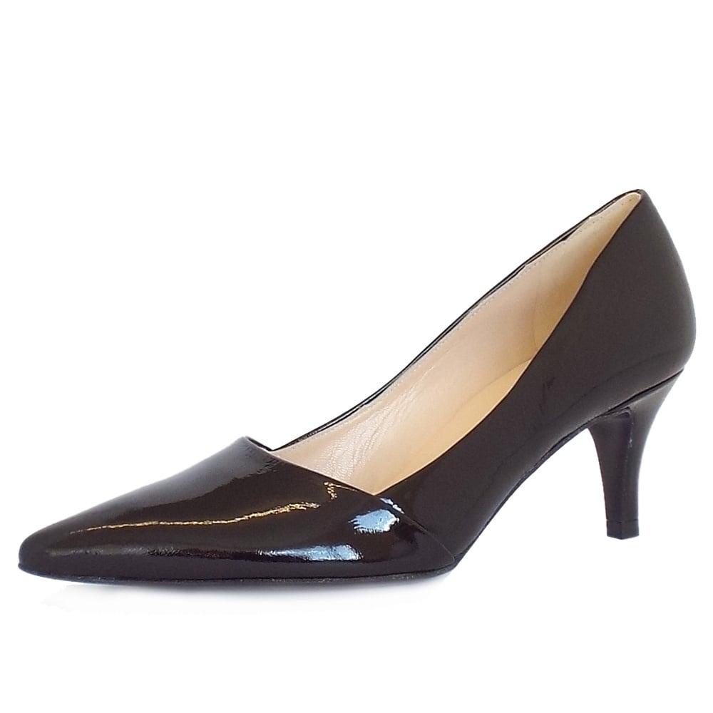 peter kaiser uk semitara black crackle mid heel pumps. Black Bedroom Furniture Sets. Home Design Ideas