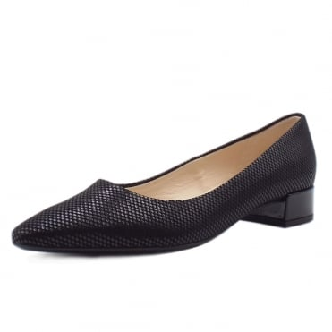 Sita Classic Low Heel Court Shoes in Black Cube