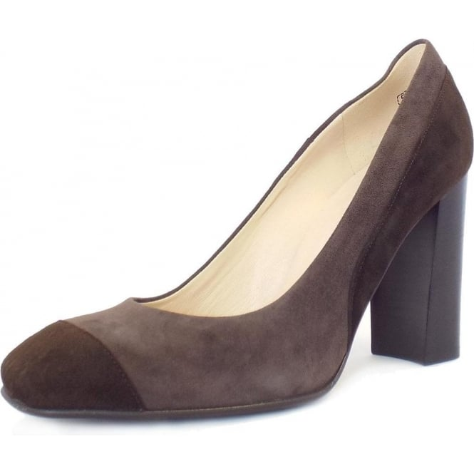 Sorana Cocoa Brown And Pietra Taupe Suede High Block Heel Pumps