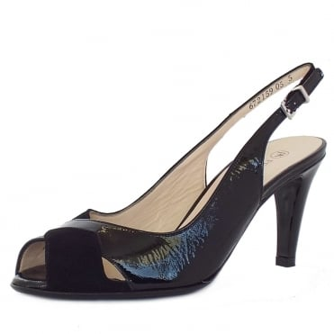 Sybylle Black Mix Patent and Suede Peep Toe Stiletto Sandals