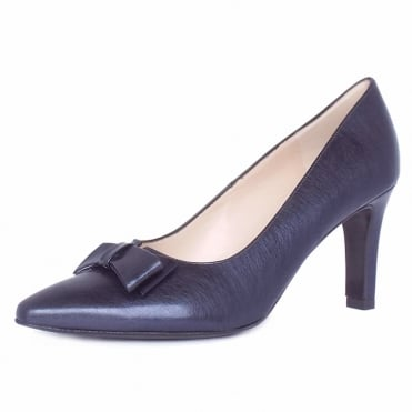 Tanja Women's Dressy Court Shoes in Brushed Effect Navy Leather