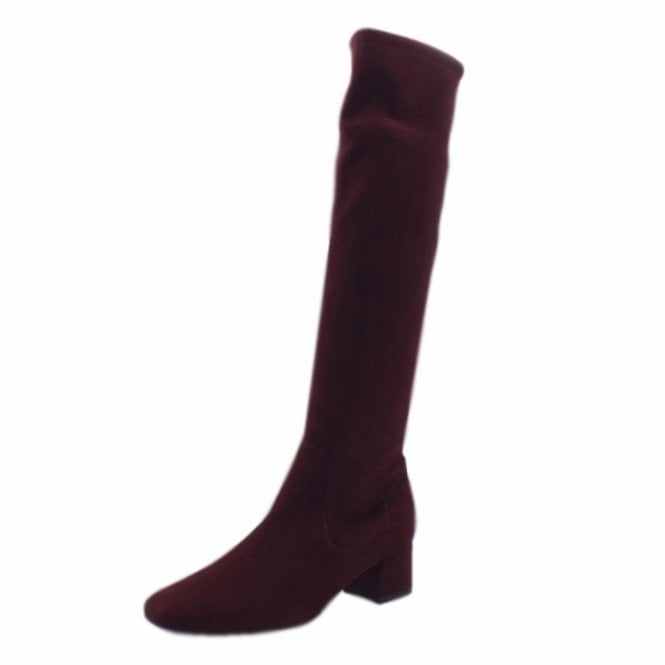 Tomke Pull On Stretch Knee High Boots in Cabernet Suede