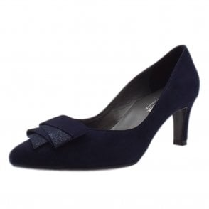 Ulrike Mid Heel Pointed Toe Court Shoes in Notte Suede