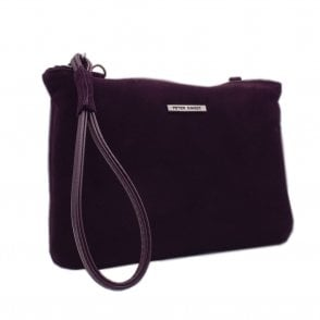 Waida Dressy Clutch Bag in Stylish Wine Suede