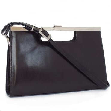 Wye Black Chevro Leather Clutch
