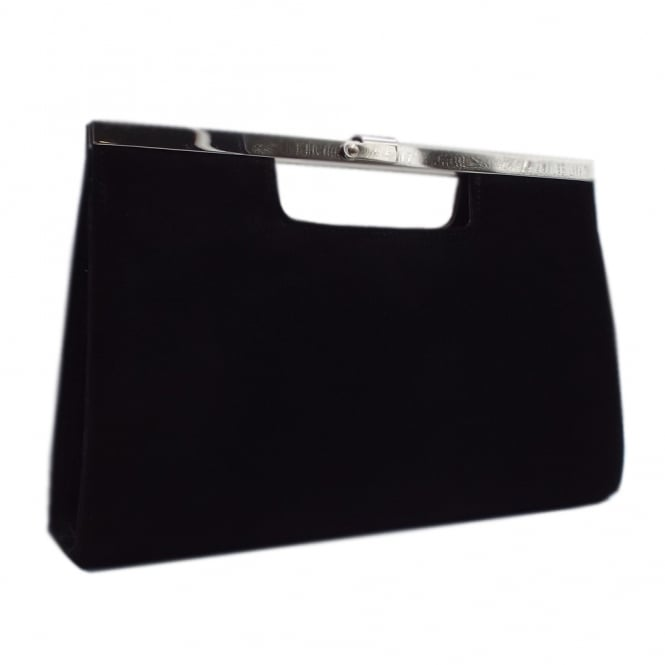 Wye Classic Evening Clutch Bag in Black Suede