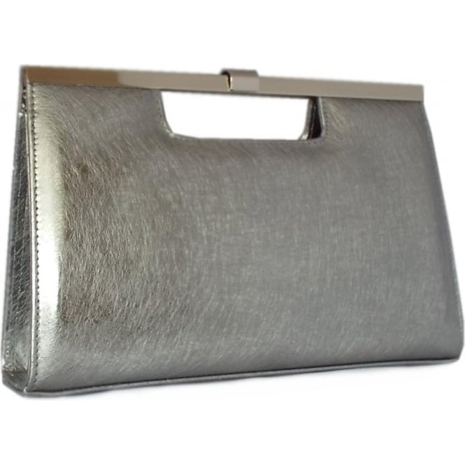 Wye Steel Graffiti Silver Leather Evening Bag