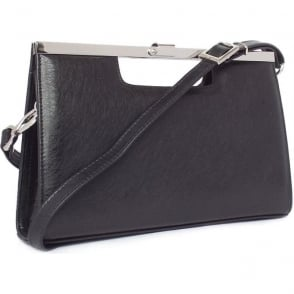 Wye Women's Evening Bag In Black Graffiti Leather