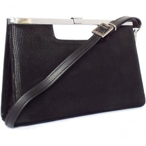 Wye Women's Evening Bag In Black Lizard Suede