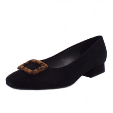 Zenda Plus Fit Low Heel Pumps in Black Suede