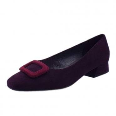Zenda Wide Fit Low Heel Court Shoes in Wine Suede